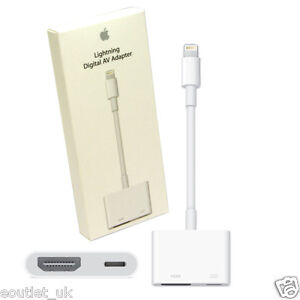 genuine apple lightning to hdmi hdtv tv adapter cable for ipad iphone 7 6s se ebay. Black Bedroom Furniture Sets. Home Design Ideas
