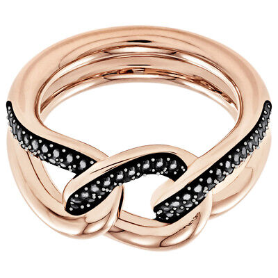 LANE MOTIF RING BLACK ROSE GOLD SIZE 9 EUR 60 2018 SWAROVSKI JEWELRY 5448846