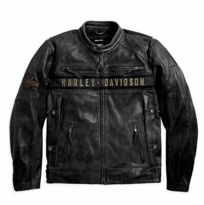 MEN'S HARLEY DAVIDSON MOTORCYCLE REAL LEATHER VEST JACKET
