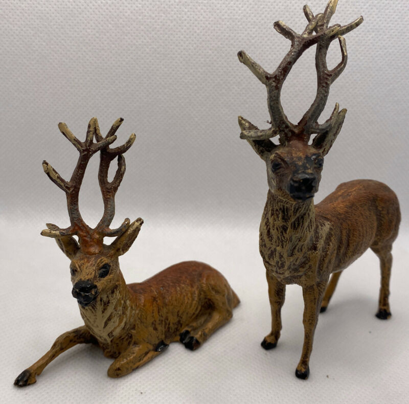 2 Vintage Metal German Reindeer