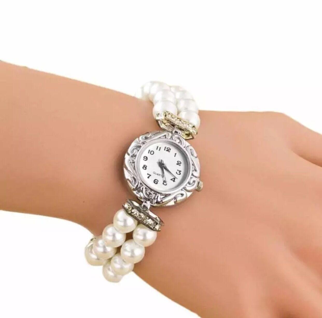 Armband Armbanduhr Uhr Damenuhr silber mit Perlen Strass Glitzer weiß rosa
