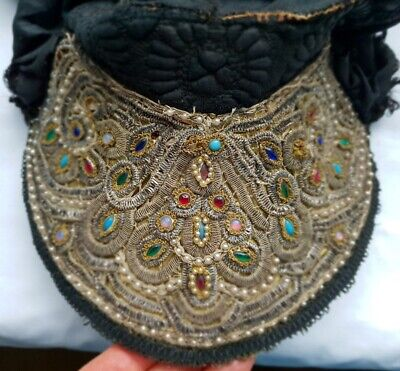 ANTIQUE GOLD SILVER EMBROIDERY FOLK ART COSTUME HAT CAP CROWN TIARA DOLL RUSSIAN