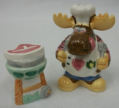 - CIC Anthropomorphic Moose Elk Grilling Steak Salt and Pepper Shakers EUC