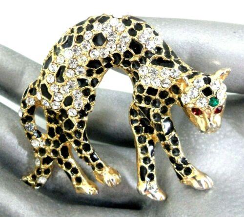 Art Deco Leopard Brooch Rhinestone Cheetah Pin Black Enamel Gold  Animal Figural