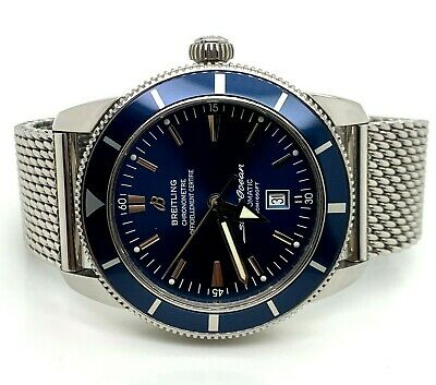 Breitling Superocean Heritage Automatic 46 Blue Dial Stainless Steel Mesh Watch