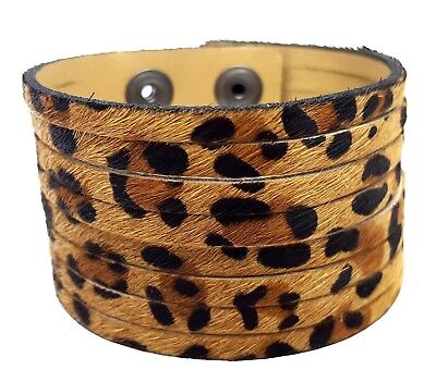 DIY Cuff Snap on Calf Hair Genuine Leather Wristband Cuff Bracelet Leopard Tan - Snap Wristbands
