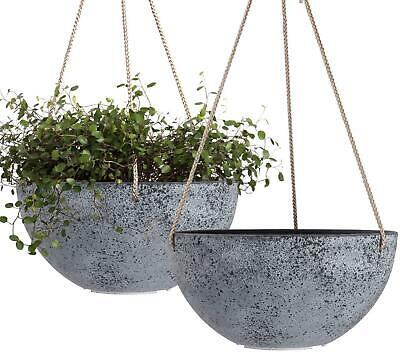 Hanging Garden Planters for Plants - 10 Inch Flower Pots , Rock Grey, Set of 2
