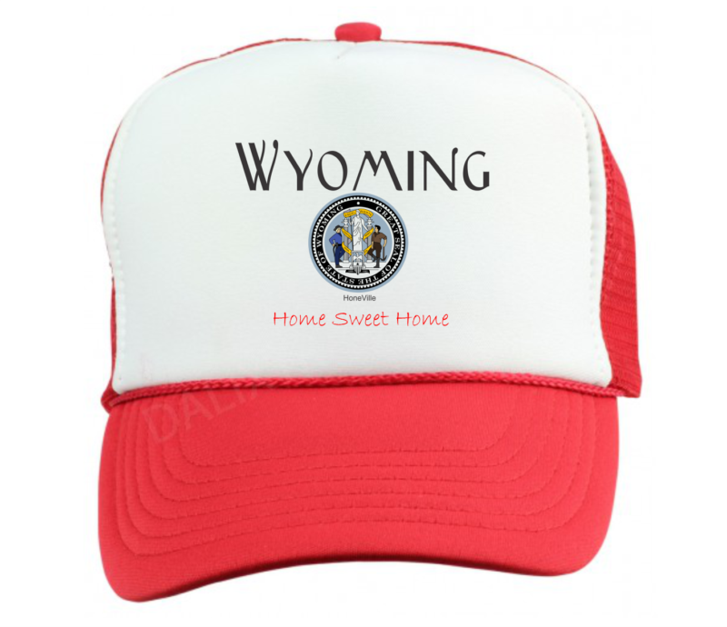 Trucker Hat Cap Foam Mesh USA State Seal Wyoming Home Sweet | PolyBull com