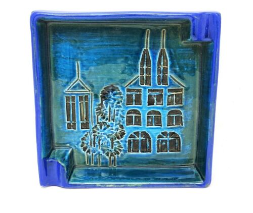 Vintage Signed Italian Art Pottery Blue Sgrafitto Basilica Ashtray Bitossi