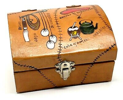 Handmade Leather Covered Felt Lined Jewelry Trinket Box Cowboy Brazil Signed VTG Handmade Felt Jewelry
