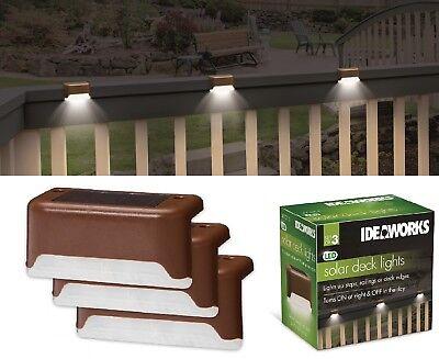 3 Solar LED Bright Deck Lights Outdoor Garden Patio Railing Decks Path Lighting