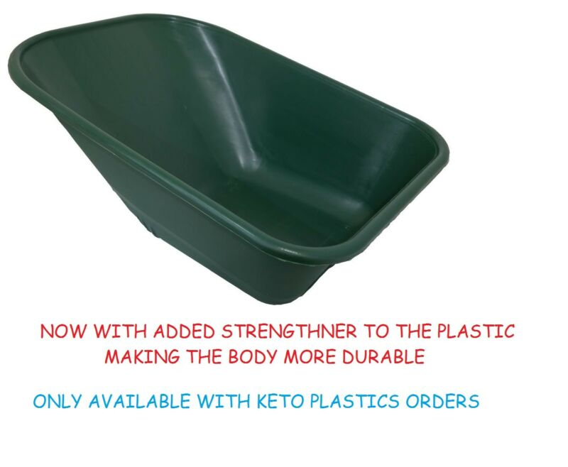 WHEEL+BARROW+REPLACEMENT+PLASTIC+BODY+110+LITRE%2F+NO+HOLES+MADE+IN+UK+