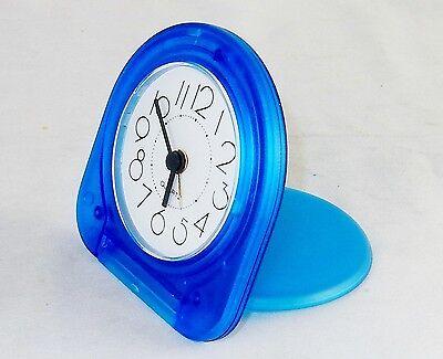 - Pocket Travel Alarm Clock ~ Analog Face, Snooze Button, Translucent Blue, #TC-03