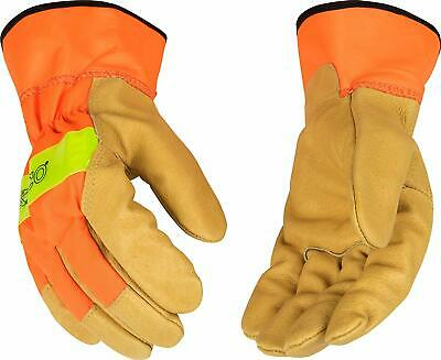 Kinco 1918 Men Grain Pigskin Palm High Visibility  3m Reflective Size X-large