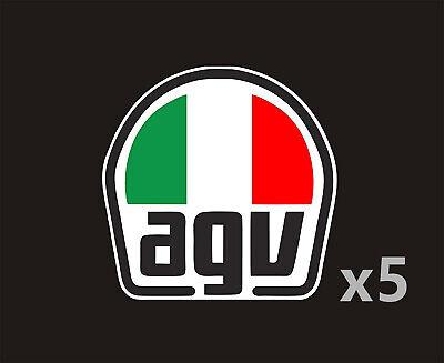 Lot de 5x Autocollant Sticker 'agv' Casque moto style Valentino Rossi 6,5x6,5cm
