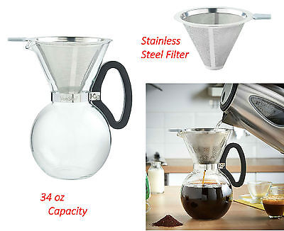 Classic Glass Pour Over Coffee Maker Permanent Filter Handle Drip Coffeemaker