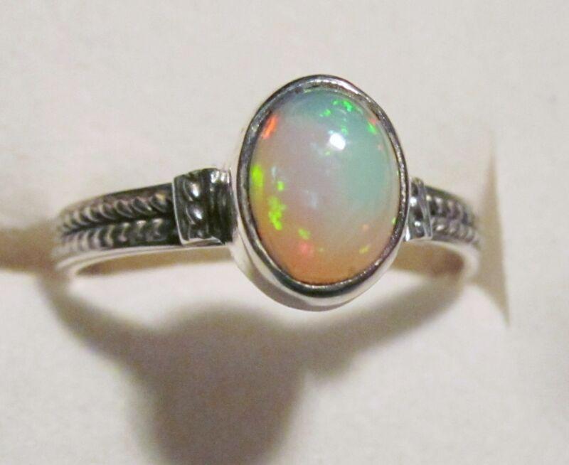 Ethiopian Opal Ring in Sterling Silver sz 8