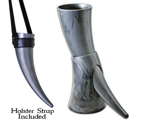 Viking Drinking Horn with stand Medieval Inspired BPA Free Drinking Horn 16 oz