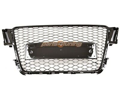 AUDI A5 S5 8T 2007-2011 RS STYLE GLOSS BLACK HONEYCOMB RADIATOR BUMPER GRILLE