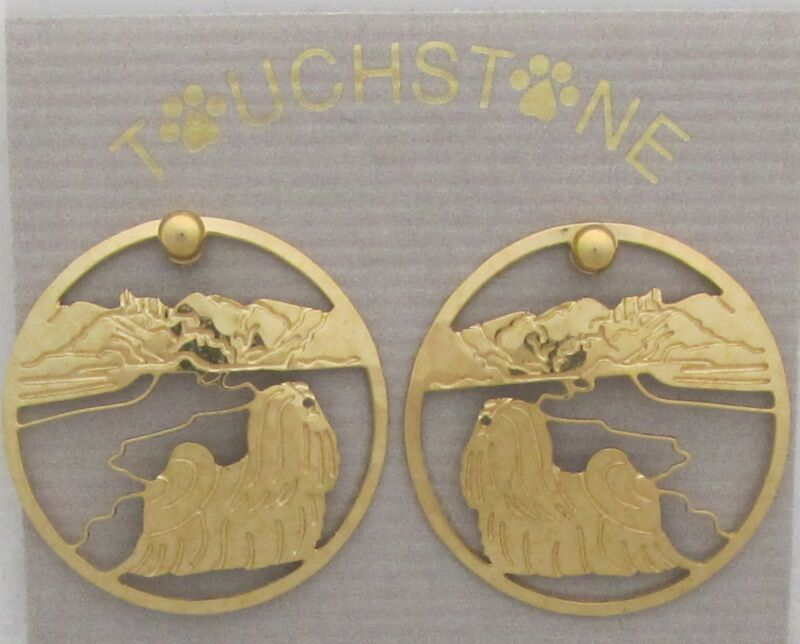 Lhasa Apso Jewelry Gold Post Earrings