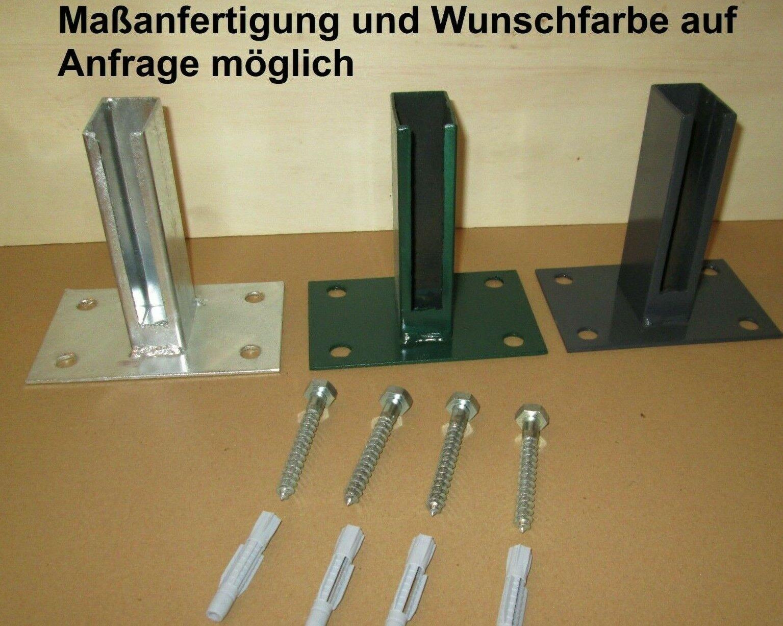 Dübelplatte 15 x 10cm Zaunpfosten Doppelstabmattenzaun Zaunzubehör Pfostenschuh