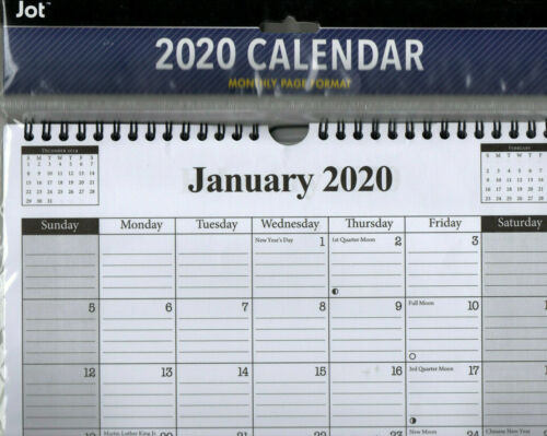 2020 WALL MONTHLY 11X9 WIRE Hanging - SPIRAL Calendar LINED - Grey & White  USA
