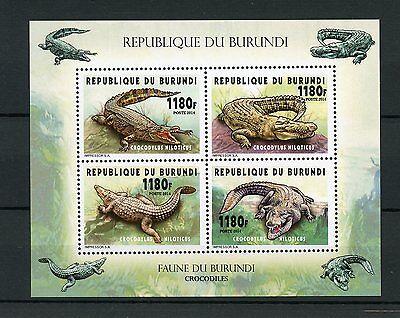 Burundi 2014 MNH Crocodiles 4v M/S Reptiles Nile Crocodile