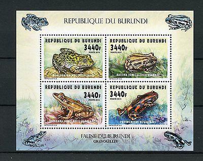 Burundi 2014 MNH Frogs 4v M/S Amphibians Grenouilles Bullfrog Running Frog