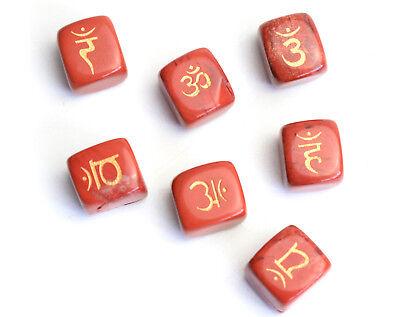 7 Pieces Natural Tumbled Red Jasper Engraved Sanskrit Chakra Symbols