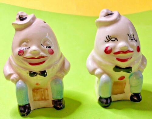 Vtg Humpty Dumpty Egg faces salt and pepper shakers