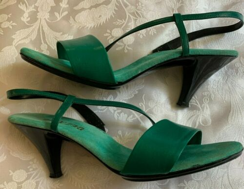 Vintage Dezario Green Leather Slingback Strappy Sandals Heels Womens Size 7 Shoe