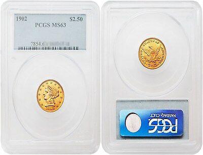 USA 1902 LIBERTY $2.5 GOLD PCGS MS63