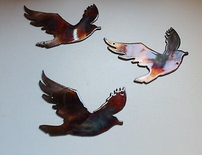 3 Flying Birds Metal Wall Art Accents    Copper/Bronze Plated