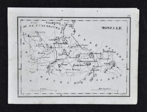 1833 Perrot Tardieu Map - Moselle - Thionville Briev Metz Sarbruck - France