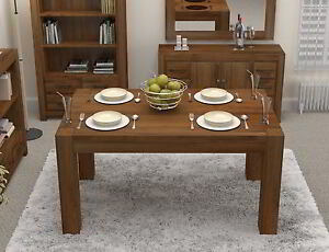 Linea solid walnut home dining room furniture four to six for Dining room table 4 seater