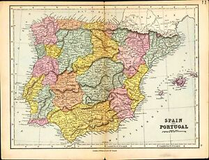 carte de 1887 espagne portugal murcia valence majorque leon vieille castille ebay. Black Bedroom Furniture Sets. Home Design Ideas
