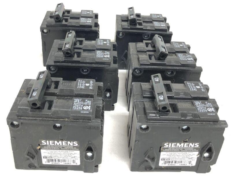 6 Siemens Q240 Circuit Breakers New Open Box 2-Pole 120/240V 60 Hz 40A