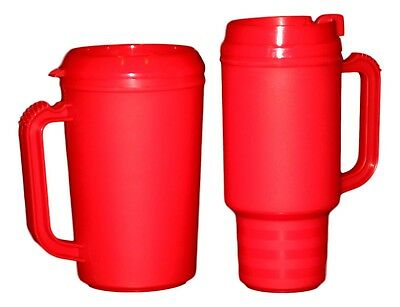 1 each Coffee Cup Mug and 1 Insulated Cool Cup Mug- Color Red Made in America (Coffee Mugs In Bulk)
