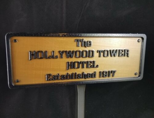 """9.5"""" Hollywood Tower Hotel Inspired Replica Established Plaque / Sign"""