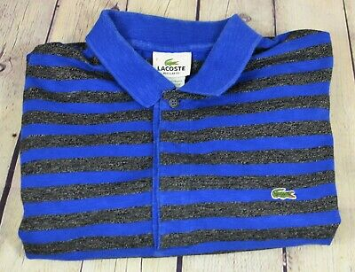 Lacoste Polo Shirt Men's Blue Gray Striped Short Sleeve Size 7