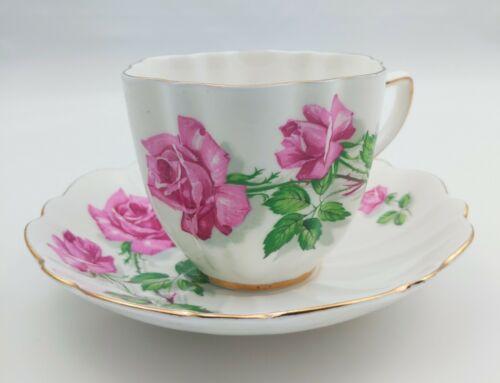 Vintage Sampson Smith Teacup & Saucer Old Royal Bone China England Rose Pattern