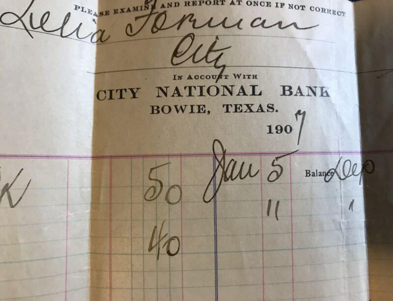 Bowie TX City National Bank 1907 Bank Invoice Receipt Original Ephemera Texas