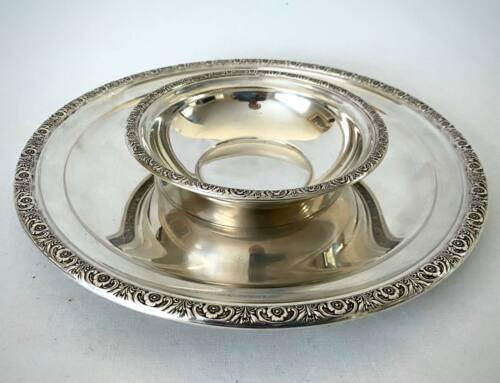 Vintage Sterling Silver International Silver Co. Prelude Bowl and Plate Set