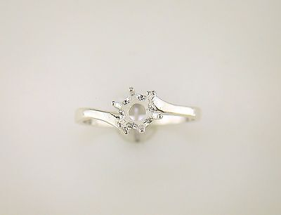 Round Solitaire Bypass Ring Setting Sterling Silver