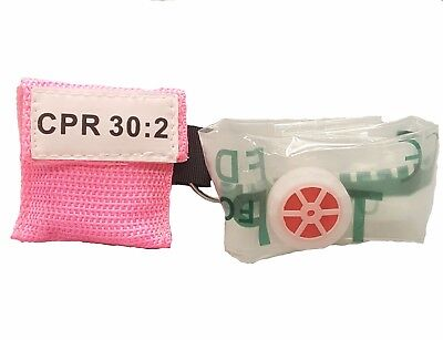 1 Pink Face Shield Cpr Mask In Pocket Keychain Imprinted 302