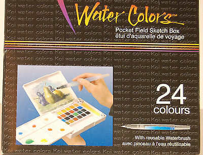 Sakura Koi 24 Fine Water Colors Pocket Field Sketch Box w/ Waterbrush - Watercolor Pocket