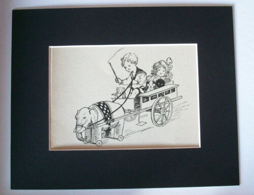 Print Kids Elephant Wagon 1930s Bookplate Dogs 8x10 Matted Wells Gardner Darton