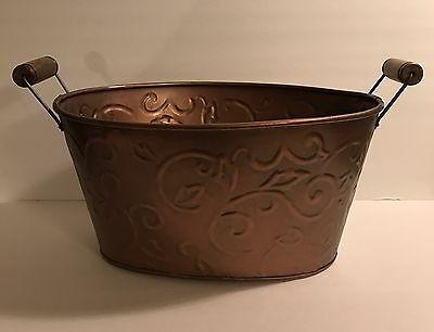 Log Carrier Holder Copper Firewood Bucket Rack Oval Tub Indoor Antiqued LARGE