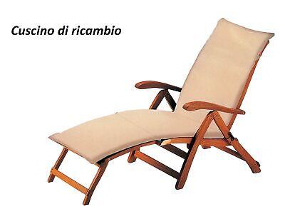 Cushion Summer Ecru for Sun Bed Sdeckchair Steamer 183x44 cm Armchair