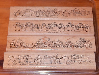 Stampin' Up! BEST BORDERS 4-pc Rubber Stamp Set 1996 Snowmen Teapots Birdhouses